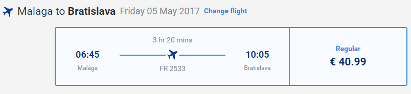 letenky z Malagy do Bratislavy
