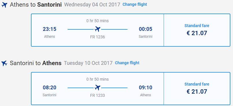 letenky z Atén na Santorini