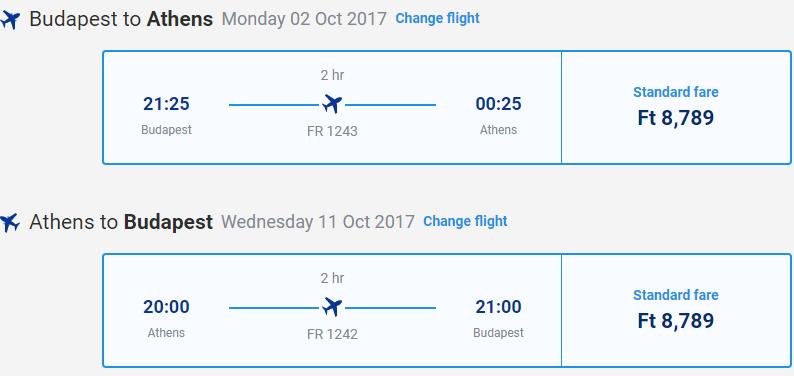 letenky z Budapešti do Atén