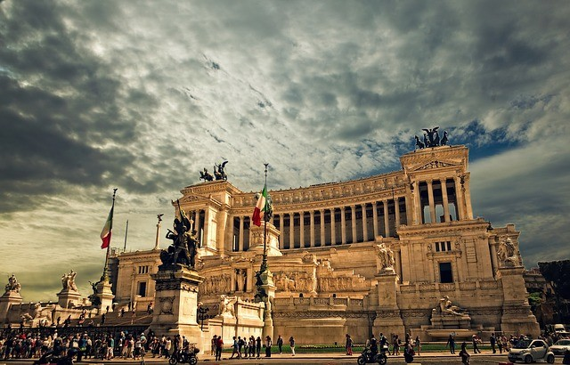 Rím v taliansku a vittorio emanuele monument