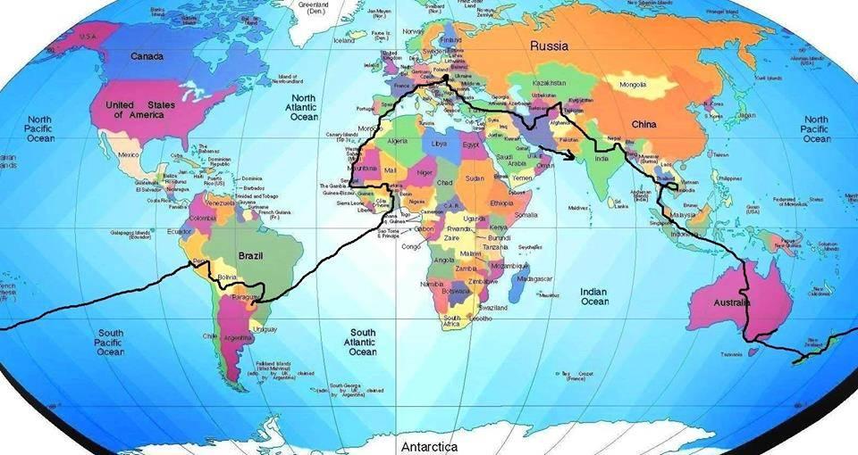 trasa Tomášovej cesty okolo sveta