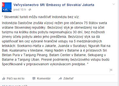 Zdroj FB stránka: Veľvyslanectvo SR/ Embassy of Slovakia/ Jakarta