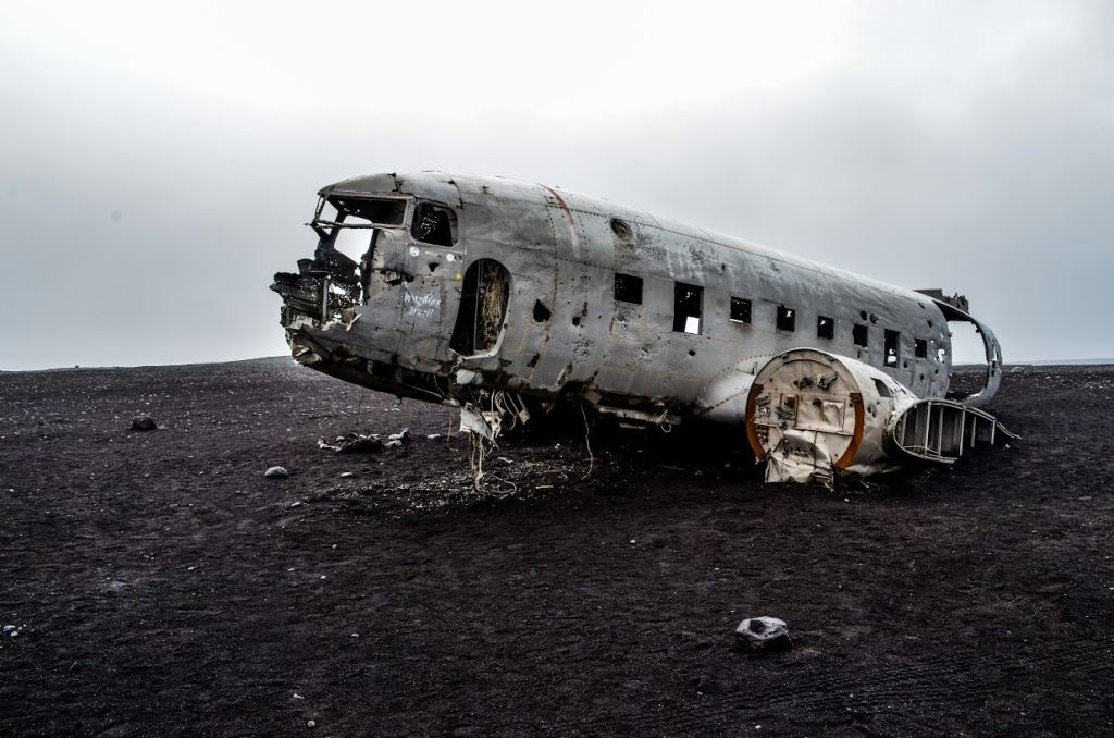 lietadlo na islande vrak