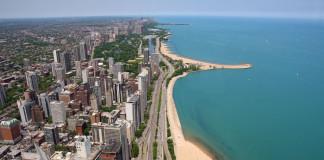 pohľad na Chicago z dronu