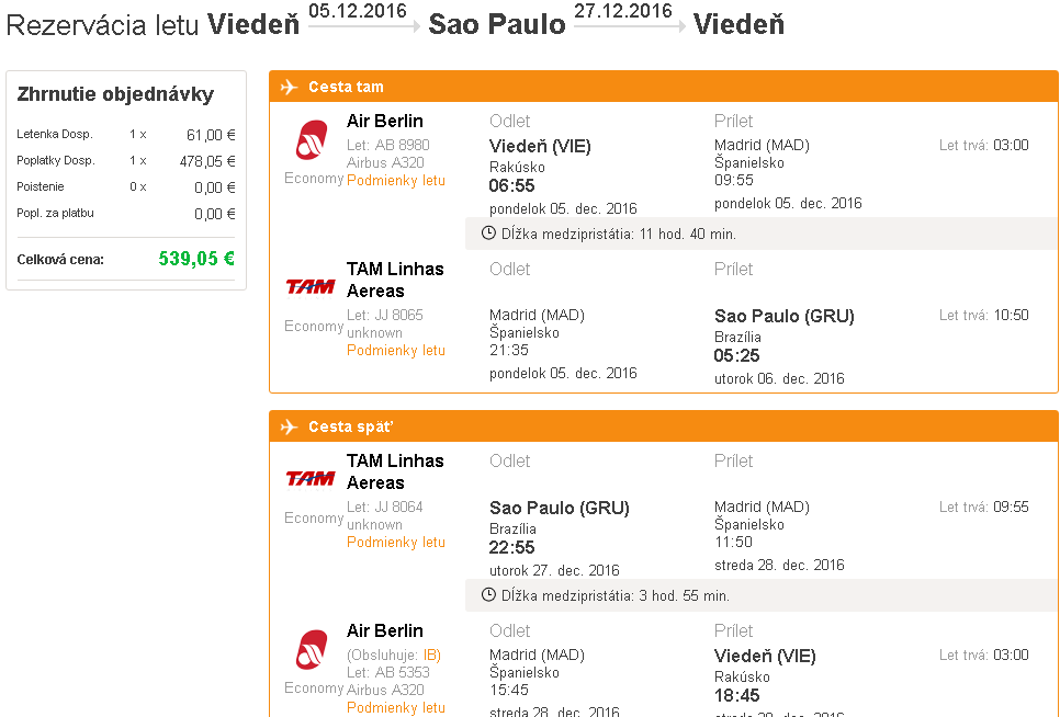 letenky Sao Paulo