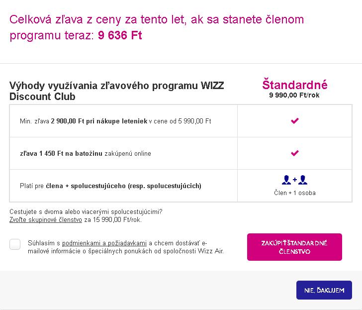 členstvo Wizz Discount Club