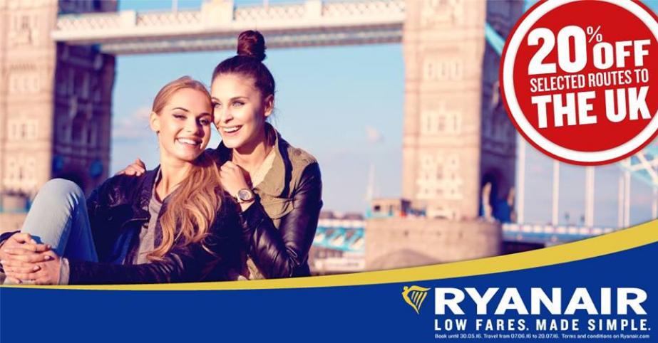 Ryanair zľava 20% na lety do Veľkej Británie