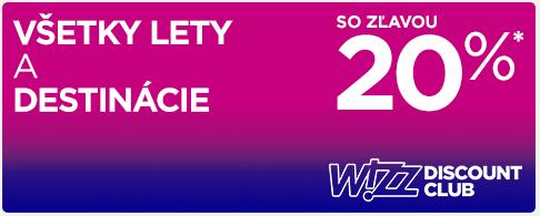 Zľava pre členov Wizz Discount Club