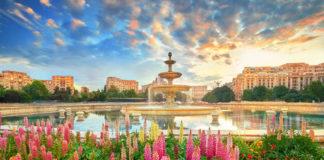 Bukurešť kvetiny a fontána