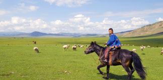 Mongolsko , krajina , chlapec na koni