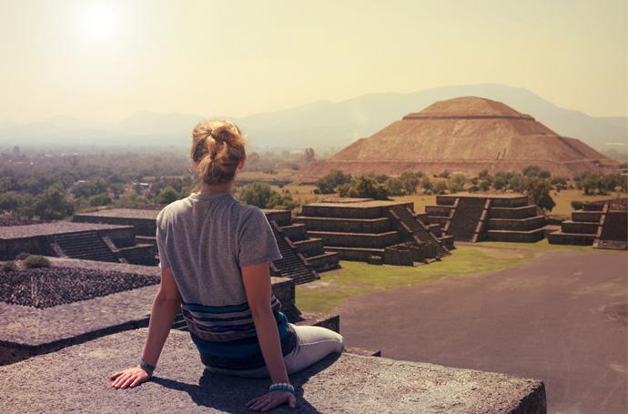 výhľad z Pyramídy v Mexiku