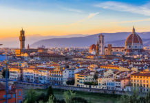 mesto Florencia západ slnka