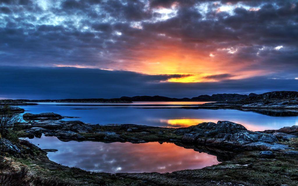 západ slnka v Nórsku
