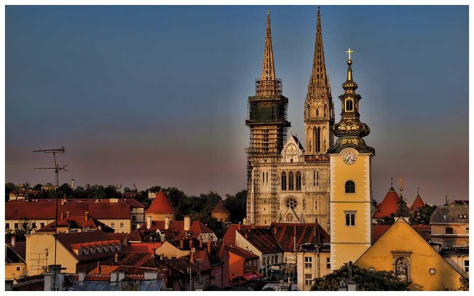 kostolné veže v Záhrebe