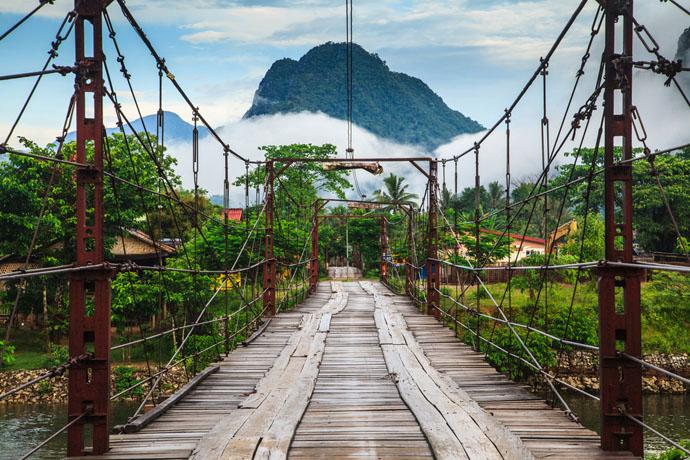 Laos, most, rieka, príroda