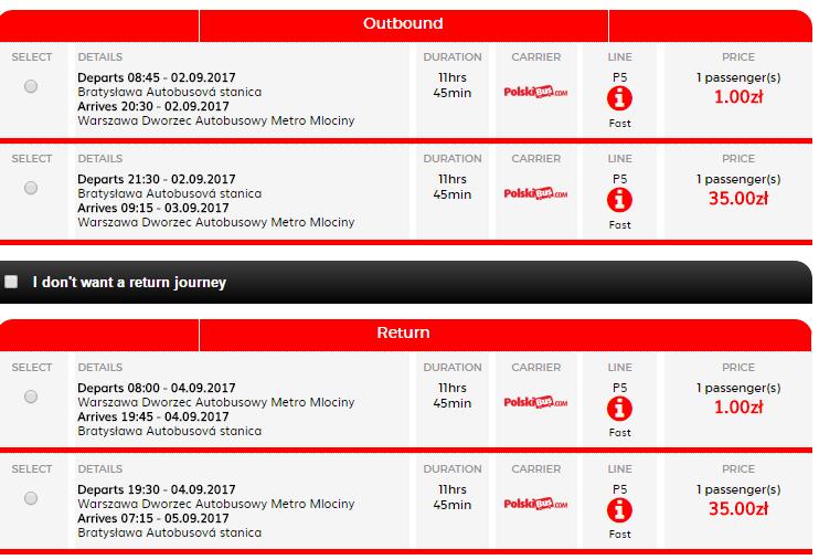 lístok do Varšavy PolskiBus