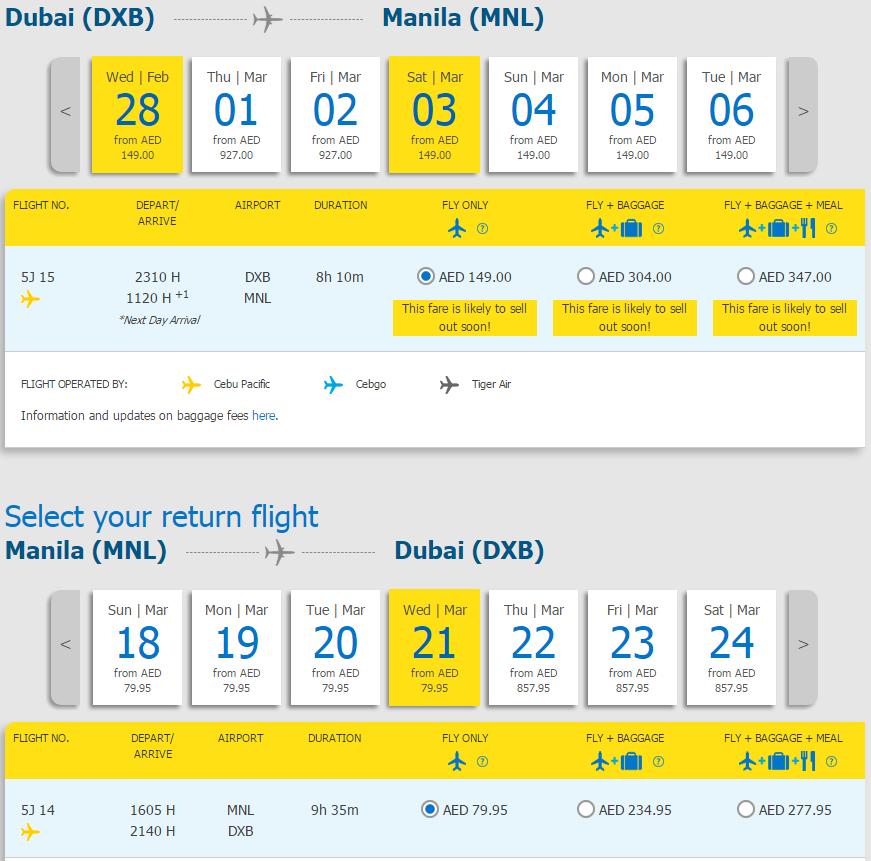 letenky z Dubaja do Manily