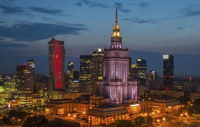 večerná Varšava