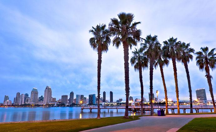 San Diego, rieka, palmy, park