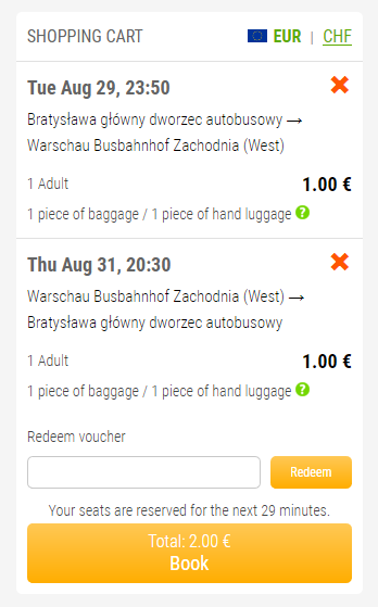 Fixbus lístok za 2€ z Bratislavy do Varšavy