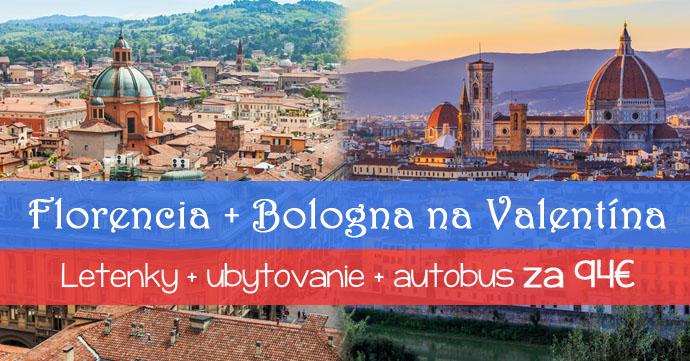 Florencia + Bologna na Valentína za 94€