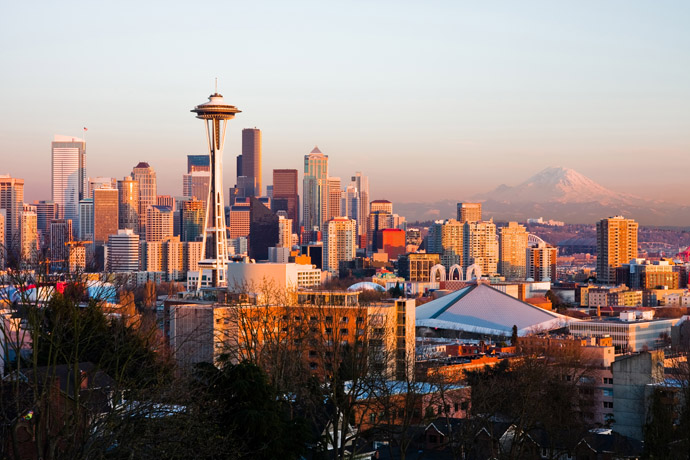 Seattle pri východe Slnka