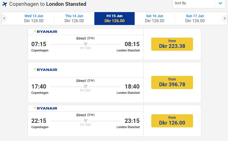 letenky z Kodane do Londýna