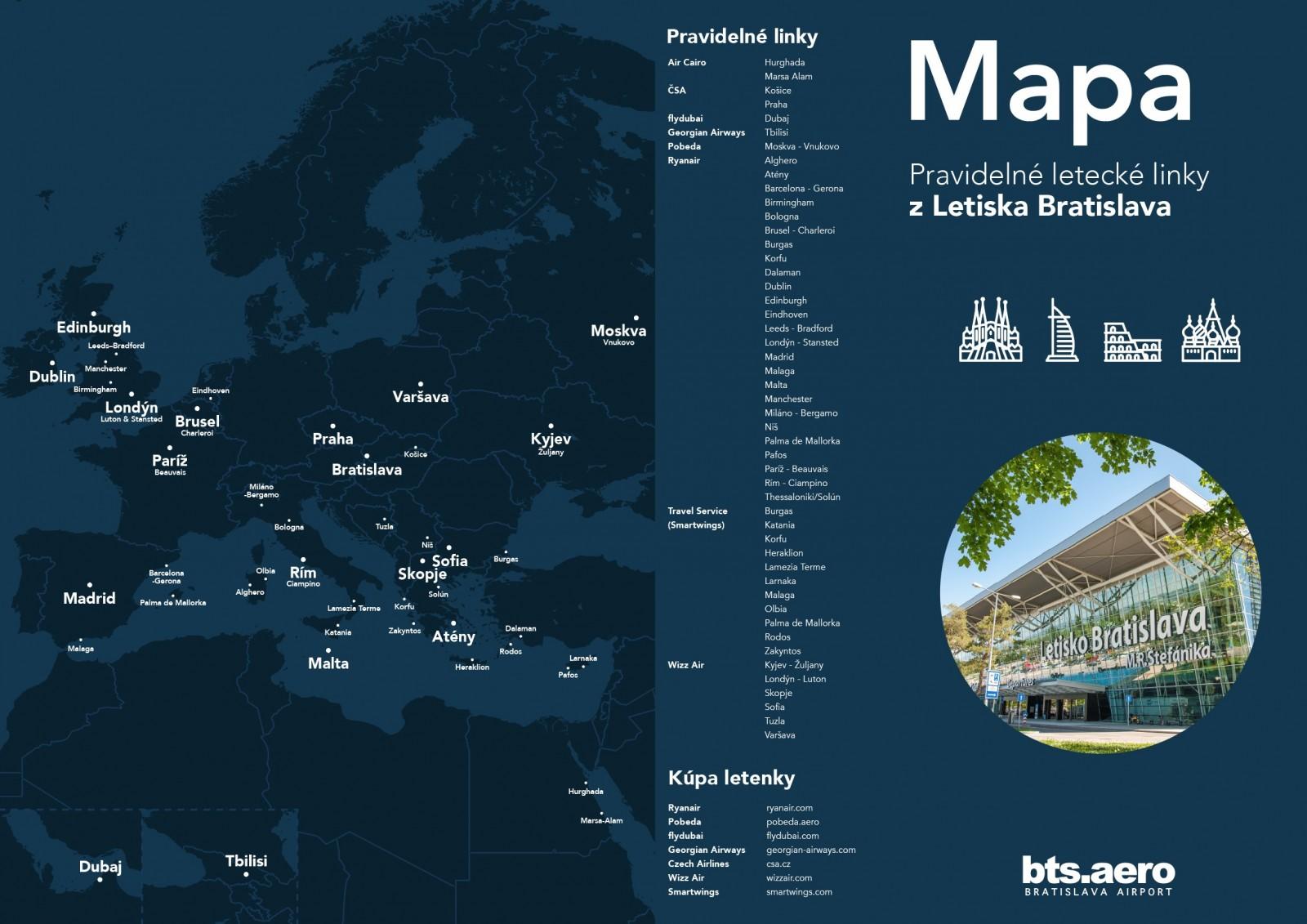 linky letiska Bratislava na letný letový poriadok