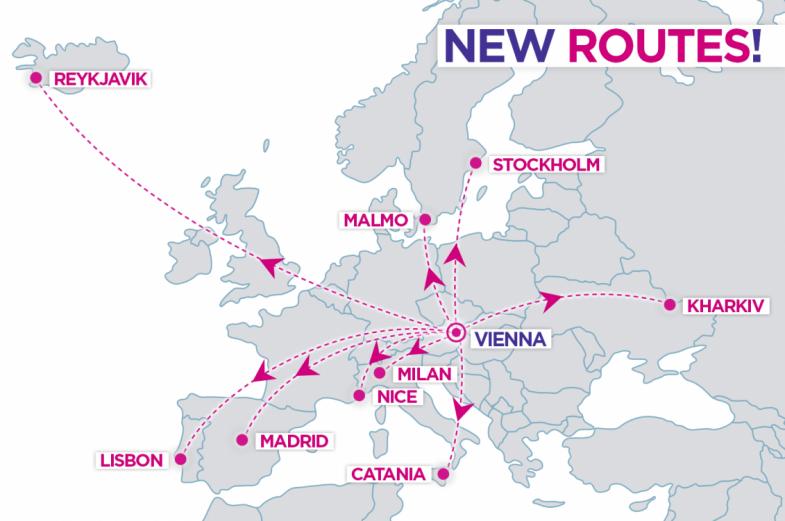 nové lety z Viedne od WizzAiru