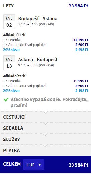letenky z Budapešti do Astany