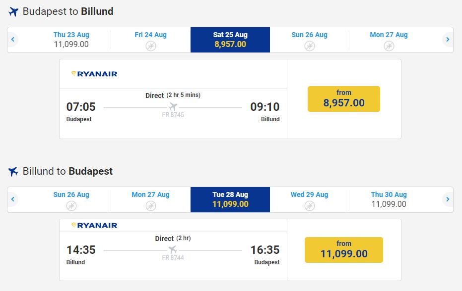 letenky z Budapešti do Billundu
