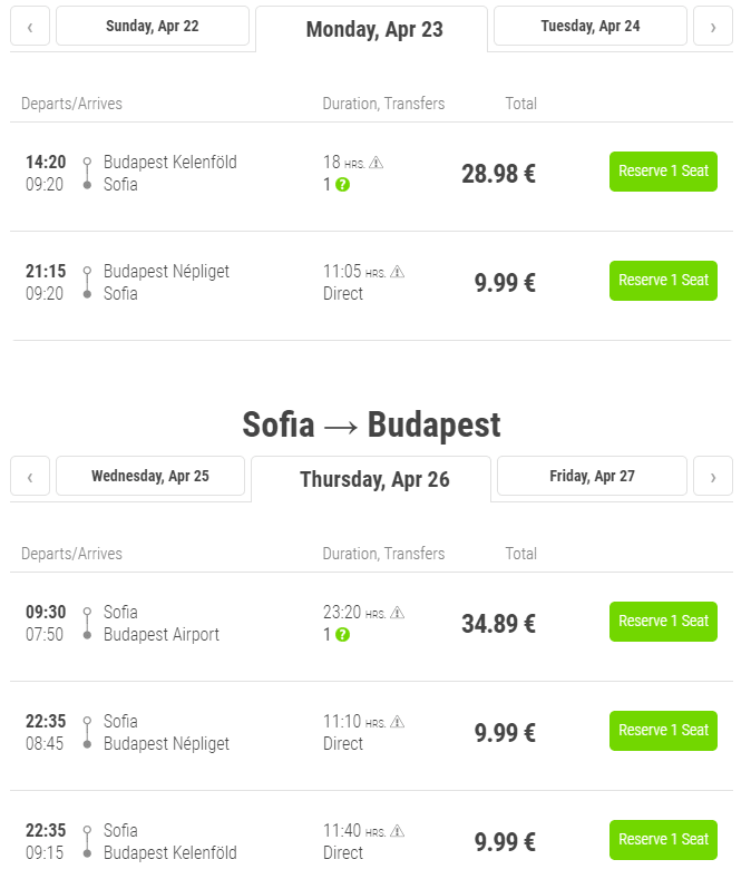 letenky z Budapešti do Sofie