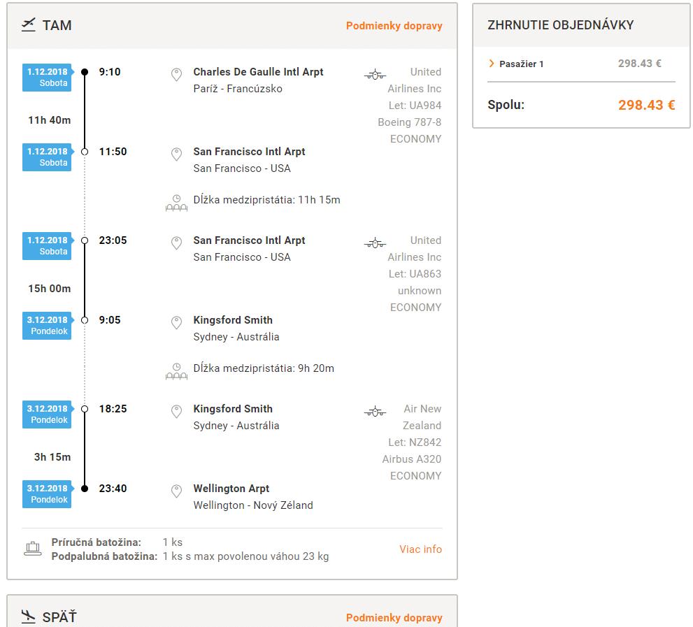 letenky z Paríža na Nový Zéland za 298€