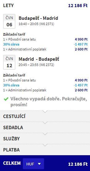 letenky z Budapešti do Madridu za 38€
