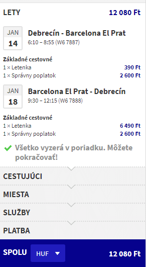 letenky z Debrecína do Barcelony