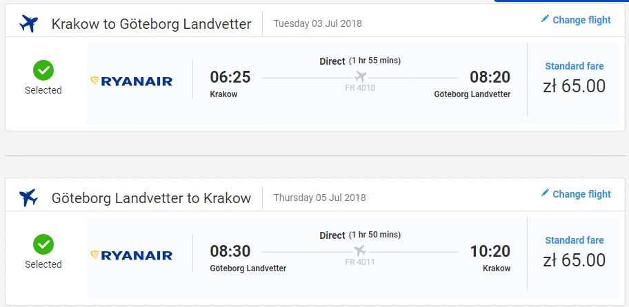 letenky z Krakova do Goteborg-u