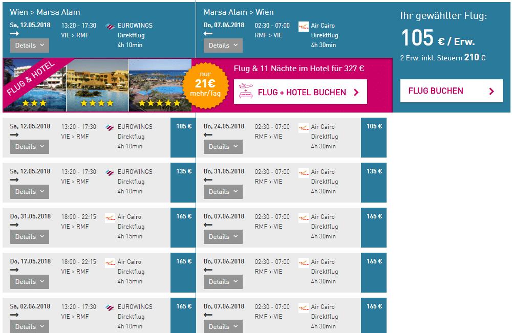 letenky z Viedne do Marsa Alam za 105€