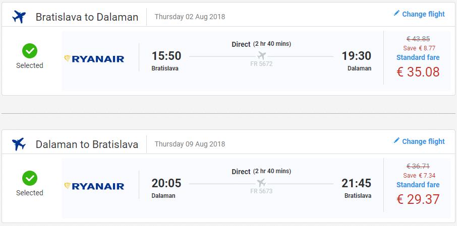 letenky z Bratislavy do Dalaman-u