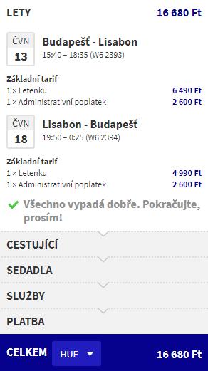 letenky z Budapešti do Lisabonu