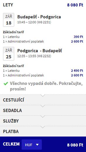 letenky z Budapešti do Podgorice