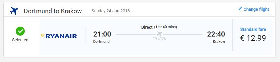 letenky z Dortmundu do Krakowa za 13€