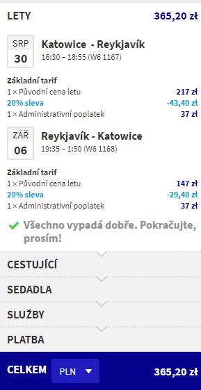 letenky z Katovíc do Reykjavik-u za 86€