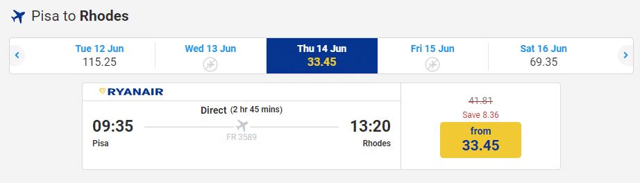letenky z Pisy na Rhodos za 33€