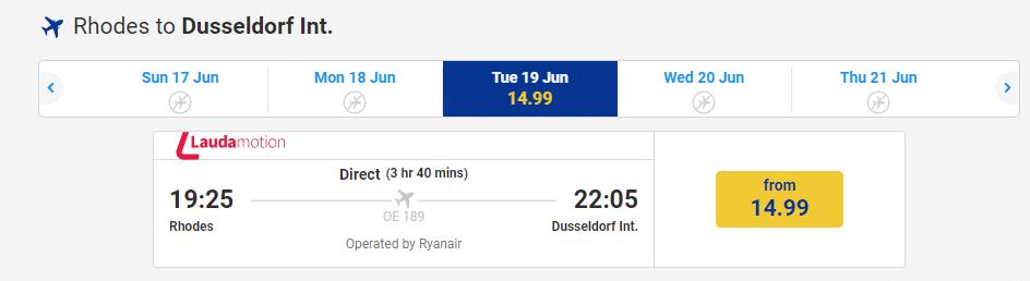 letenky z Rhodos-u do Deusseldorf-u za 15