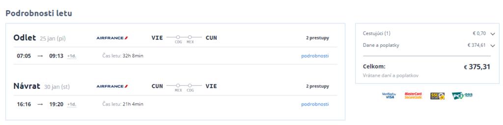 letenky z Viedne do Cancún-u