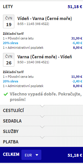 letenky z Viedne do Varny za 51€