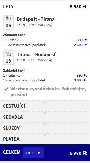 letenky z Budapešti do Tirany