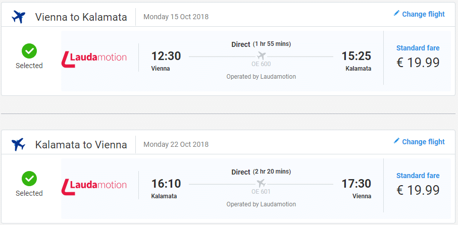 letenky z Viedne do Kalamaty