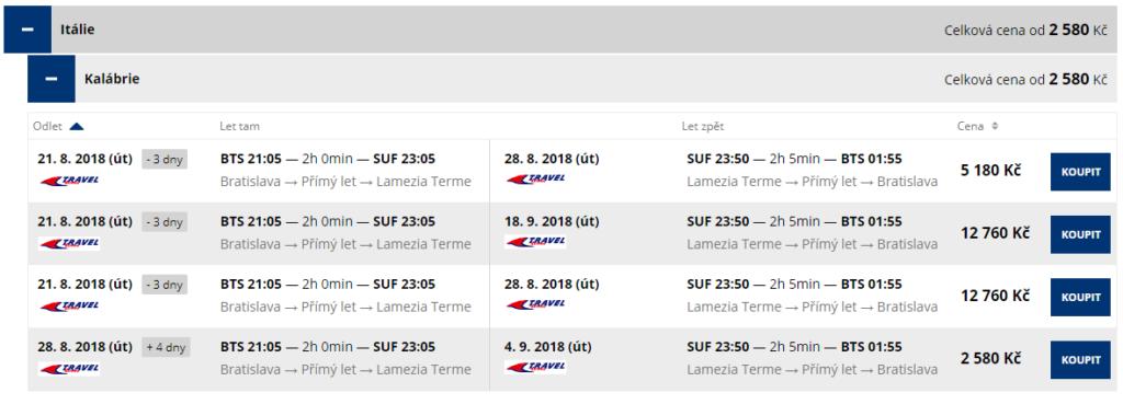 letenky z Bratislavy do Kalábrie