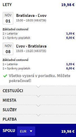 letenky z Bratislavy do Lvovu